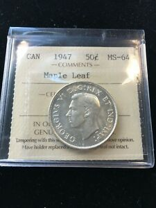 1947 Maple Leaf  ICCS Graded Canadian Silver 50 Cent, **MS-64**