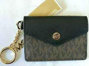 Michael Kors Small Leather Signature Logo Flap Key Ring Card Case Brown Black