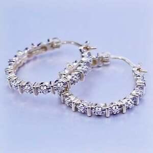 """1"""", vermeil gold filled Sterling silver earrings, 925 Huggie hoops diamond"""