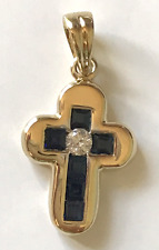 Beautiful Yellow Gold 18Kt  Blue Sapphires an Diamonds Cross