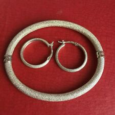 """Vintage Milor bangle bracelet Rough Texture icy matching earrings Italy 7"""""""