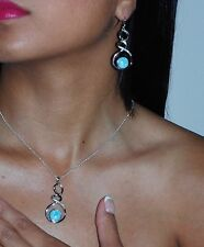 Larimar AAA 10mm Earrings And Necklace Set White Sapphire .925 Sterling Silver