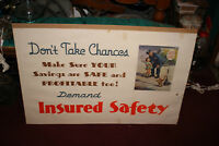 Antique Harlan Shattuck Display Poster Savings Bank Insured Police Officer Girl