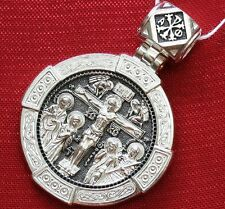 LARGE MEDAL ORTHODOX RUSSIAN 925 SILVER PENDANT CRUCIFICTION OF JESUS CHRIST