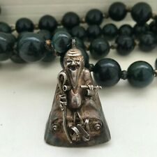ANTIQUE CHINESE BLOODSTONE BEAD SILVER IMMORTAL HAT AMULET PENDANT NECKLACE