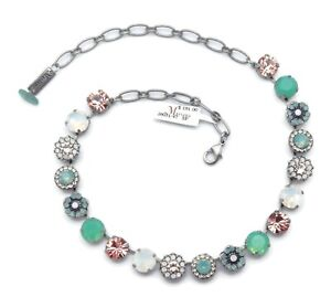 Mariana 23439 Seaside Day Green Peach White Floral Silver Plated Necklace NWT