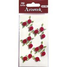 Roses rouges paillettes craft embellissement romantique mariage carte topper stickers