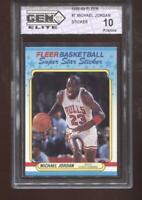 Michael Jordan 1988-89 Fleer #7 Sticker Chicago Bulls HOF GEM Elite 10 Pristine
