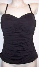 NEW 2Bamboo solid black ruched bikini swimsuit tankini bra top 34D 34 D Medium M