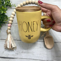 "RAE DUNN 2021 NEW Release ""HONEY"" Bee Yellow Mug with Wood Coaster Lid"