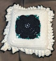"Vintage 70's Crochet Pillow 3D Flower 15"" square Handmade ruffles black white"