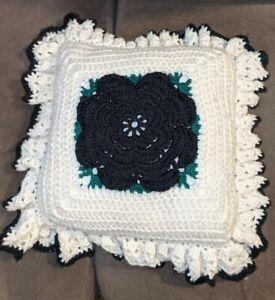 """Vintage 70's Crochet Pillow 3D Flower 15"""" square Handmade ruffles black white"""