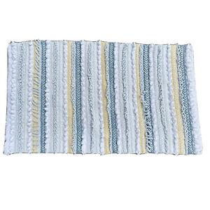 Vtg Floor Bath Mat 32X19 Pom Pom Knots Stripes White Yellow and Blue