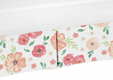 Sweet Jojo Watercolor Floral Peach & Green Baby Girl Crib Bed Skirt Dust Ruffle