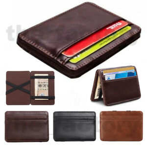 Synthetic Leather Magic Wallet Money Clip Slim Mens ID Credit Card Holder Case