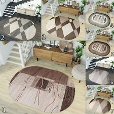 SOFT OVAL AREA RUGS LIVING ROOM ABSTRACT PATTERN BEIGE BROWN GREY RUG S-XL SIZE