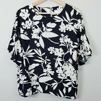[ WITCHERY ] Womens Black & White Floral Blouse Top | Size AU 14 or US 10
