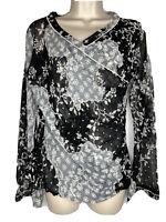 ANAC by Kimi Black White Floral Faux Wrap Long Sleeve Top Blouse Sz XL