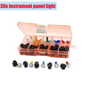 30 Sets T5 Instrument Panel Plug Dash Light 6 Colors LED Bulb Lights For Car SUV