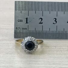 Real 14k gold halo sapphire and diamond vintage style halo royal engagement ring