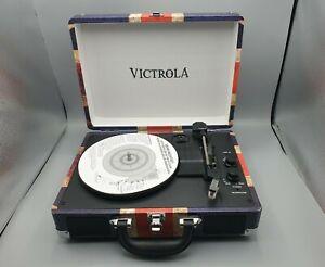 Victrola Portable Suitcase Bluetooth 3 Speed Turntable Union Jack Flag