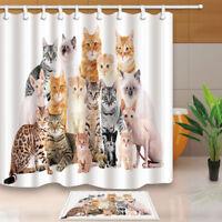 "Funny Cat Family Photo Waterproof Bathroom Shower Curtain 71"" , Bath Mat , Hooks"