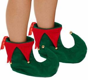 Elf Shoes Boots + Bells Fancy Dress Jester Santa Helper Xmas Mens Ladies Costume