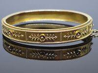 Antique Victorian c1880 Etruscan Revival 14K Gold Hinged Bangle Bracelet, 16.3g