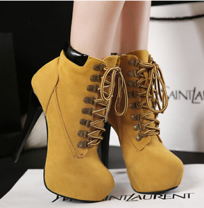 Women Ankle Boots Platform Lace Up High Heels Side Zip Riding Boot Stiletto Shoe