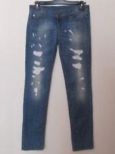 Benetton - Jeans donna taglia 29, colore blu jeans con decorazioni a tagli finti