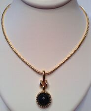 Vintage Signed MONET Jewelry Pendant Necklace White, Black & 22k Gold Plated