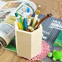 Hexagon Wooden Pen Case Brush  Desktop Organizer Case Pot Pencil Storage Box