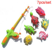 Magnetic Fishing Toy 7 Fish Game Kid Rod Set Children Bath Play Kids Board Rods
