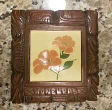 Vintage Handmade Carved Wood Honduras Ceramic Flower Tile Hot Plate Cooking