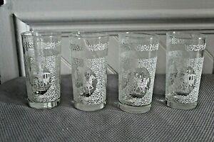 Set of 4 Vintage Hazel Atlas Monticello White Glasses