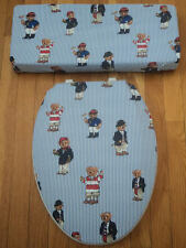 Ralph Lauren Polo Bears Teddy Bathroom Decor Toilet Seat & Tank Lid Cover Set