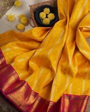 Yellow Banarasi Jacquard Silk Saree Blouse Sari Indian Ethnic Clothing Wear