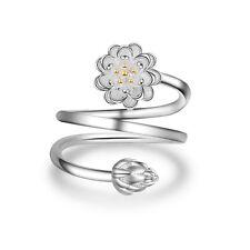 Womens Elegant Solid 925 Sterling Silver Lotus Ring Size 7.5 Adjustable