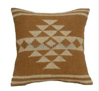 """18""""  Handknotted Kilim Cushion Cover Ethnic Chair Throw Wool Jute Pillow Case"""