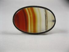 oval Cabochon PIN Brooch polished agate stone