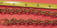 Vintage Large Round Link Textured 1940s T Bar Brass Pocket Watch Chain 15 inch