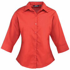 Ladies Women Premier 3/4 Sleeve Poplin Easy Care Fitted Blouse Shirt Red 20