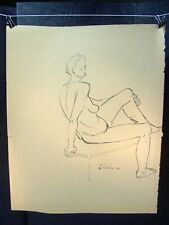 Posing Nude Woman on a Table Original Ink 1954 by C. Schattauer Kelm