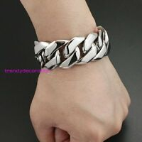 "8.5""x26mm Silver 316L Stainless Steel Heavy Cool Men's Curb Cuban Chain Bracelet"