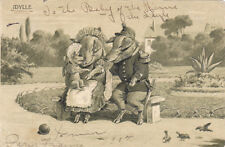 Postcard France Anthropomorphic PIG family Father in uniform PIGS in park Idylle