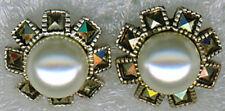 "925 Sterling Silver Marcasite & Faux Pearl Stud Earring    1/2"" Diameter"