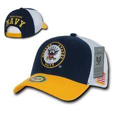 Blue & Gold United States US Navy USN Military Logo Mesh Baseball Ball Cap Hat