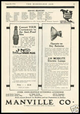 1914 vintage ad for Manville Auto Accesories