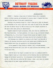 1963 Detroit Tigers Press Release for James Campbell Tigers Management