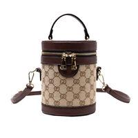 Women PU Leather Cylinder Handbag Shoulder Bag Mini Messenger Purse Bucket Bag